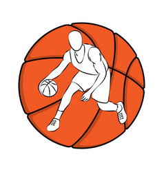 Basketball outline player vector
