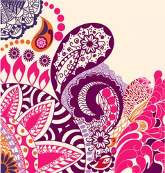beauty flowers and paisley pattern vector image