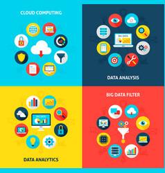big data concepts set vector image