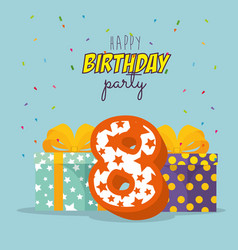 Birthday card with candle number eight vector