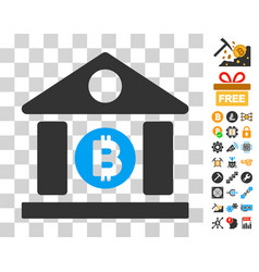 bitcoin bank building icon with bonus vector image
