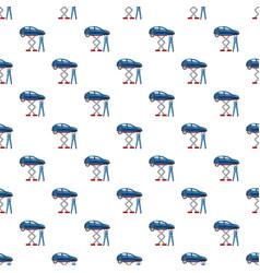 Blue car on a scissor lift platform pattern vector