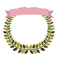 Border of leaves with pink label vector