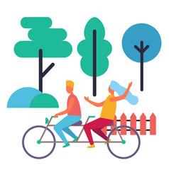Boy and girl on double bike isolated vector