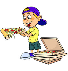 boy eating pizza vector image