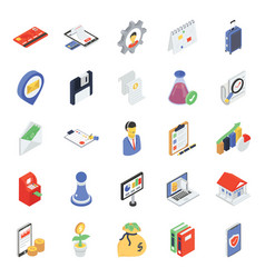 Business and finance icons in modern isometric st vector