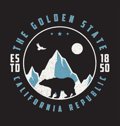 California vintage t shirt with grizzly bear vector