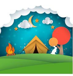 camping tent paper landscape vector image