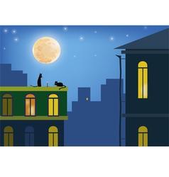 Cats in moonlight vector