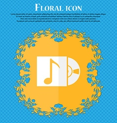 Cd player icon sign floral flat design on a blue vector