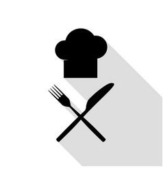chef with knife and fork sign black icon with vector image