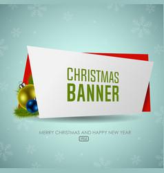 christmas origami banner with christmas balls vector image