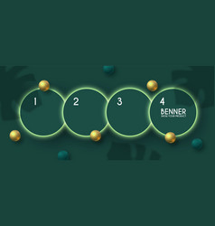 circle banner set with palm gold spheres leafs vector image
