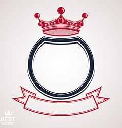 Circle with 3d decorative royal crown and festive vector