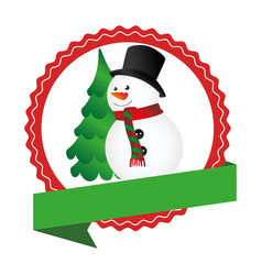 circular emblem with ribbon and snowman and vector image