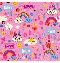 clouds rainbows birds rain love hearts cartoon vector image