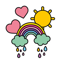 Color rainbow clouds raining with hearts and sun vector