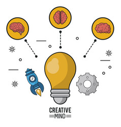 colorful poster of creative mind with the light vector image