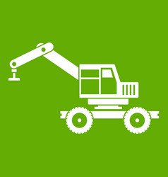 Crane truck icon green vector
