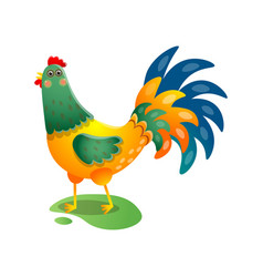 crowing rooster with beautiful tail on the field vector image