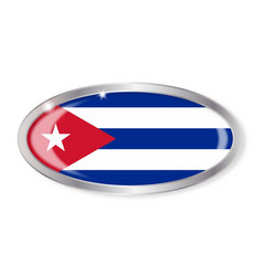Cuba flag oval button vector