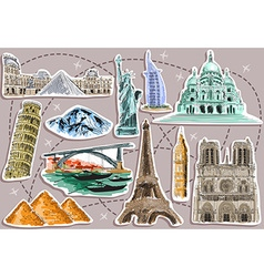 Cut Out Designs of Travel Destinations vector