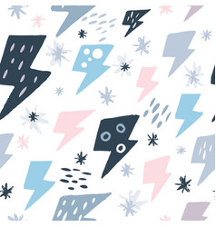 Cute lightning bolts seamless pattern on white vector