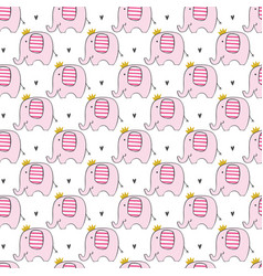 cute pink elephants seamless pattern vector image
