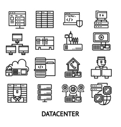 Datacenter Monochrome Icons Set vector