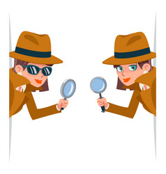 Detective female snoop magnifying glass tec vector