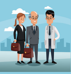 Doctor with business teamwork vector