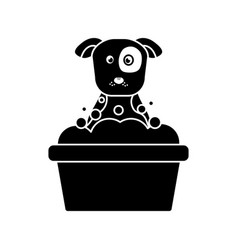 Dog or puppy in tub pet icon imag vector