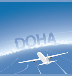 Doha flight destination vector