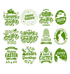 easter label set vector image