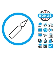 Empty Ampoule Flat Icon with Bonus vector