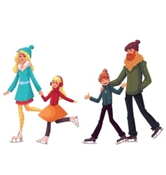 Family of father mother sister and son ice vector image