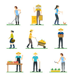 Farmers work 3d icons set isometric view vector