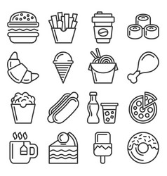 fastfood and food court icons set line style vector image