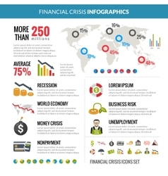 Financial Crisis Recession Statistic Infographics vector