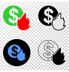 fired money eps icon with contour version vector image