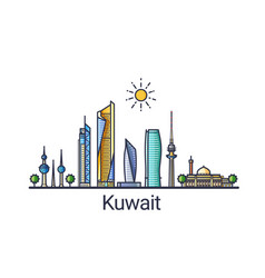 flat line kuwait banner vector image