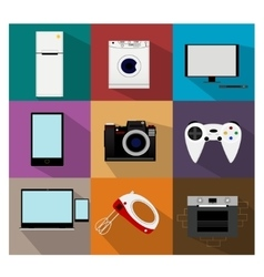 Flat modern kitchen appliances icons vector
