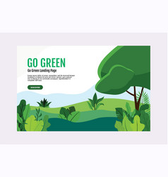 flat nature landing page template free vector image