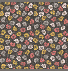 Floral and polka dot seamless pattern vector
