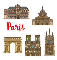 French travel landmark icon of paris tourist sight vector