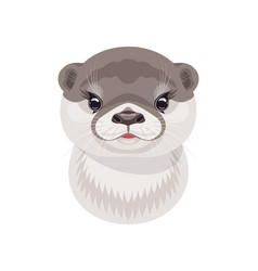 Funny river otter cub on white vector