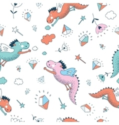 Funny seamless pattern Cute hand drawn vector image
