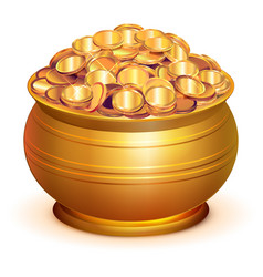 Gold pot full of gold coins vector