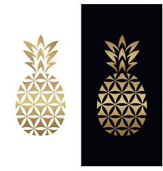 Golden geometric pineapple logo design vector