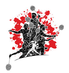 group badminton players action cartoon graphic vector image